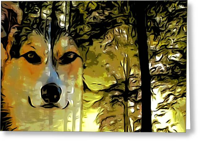 Greeting Card featuring the digital art Watcher Of The Woods by Kathy Kelly