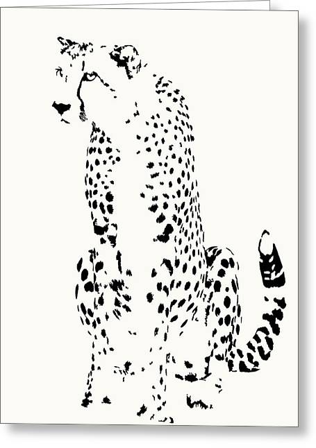 Watchful Cheetah On Its Haunches Greeting Card
