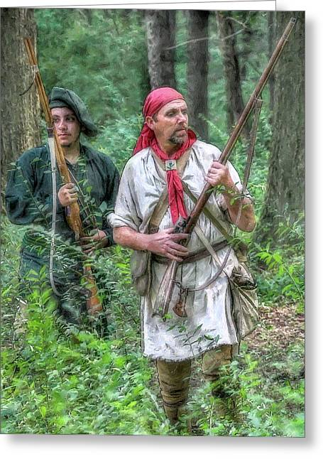 Frontiersman Greeting Cards - Watchful Eyes Militia Scouts Greeting Card by Randy Steele