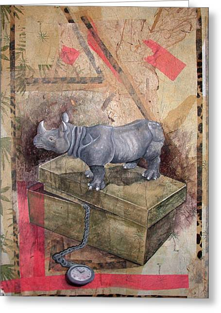 Watchful Rhino Greeting Card by Sandy Clift