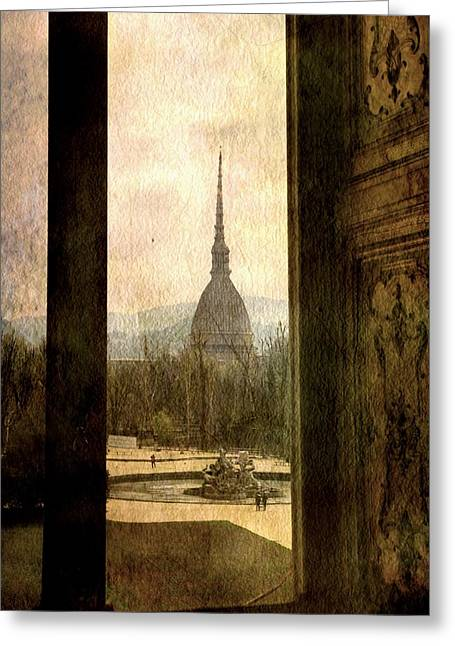Watching Antonelliana Tower From The Window Greeting Card