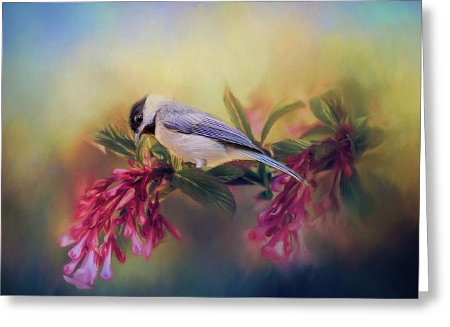 Watching Flowers Bloom Bird Art Greeting Card