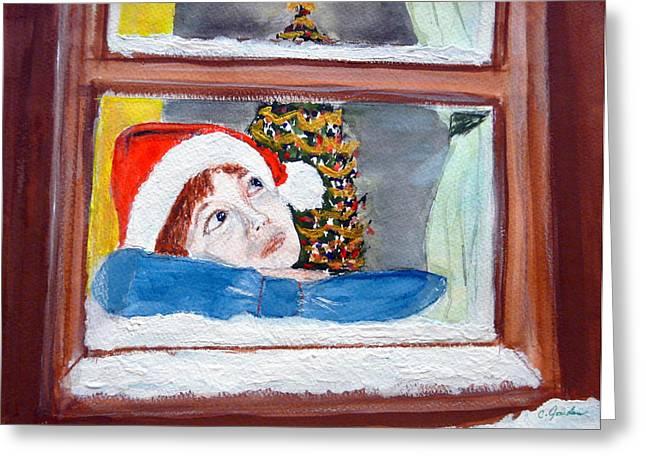 Watching For Santa Greeting Card by Cathy Jourdan