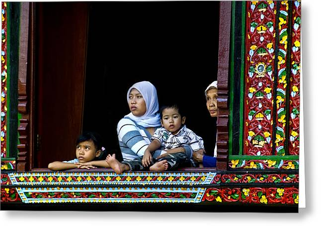 Watching From A Window Greeting Card by Charuhas Images