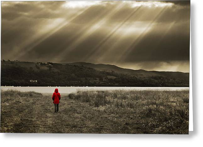 Mystery Photographs Greeting Cards - Watching In Red Greeting Card by Meirion Matthias