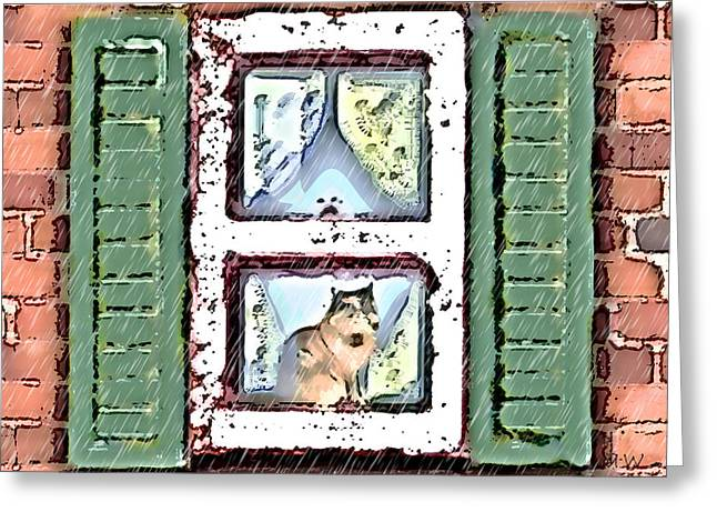 Watching It Rain Greeting Card by Arline Wagner