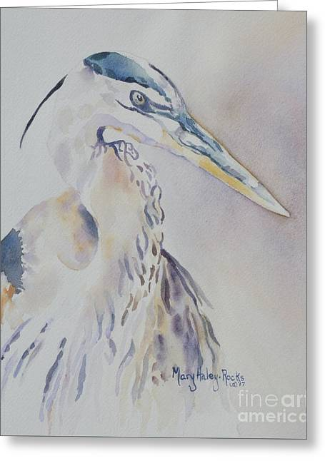 Greeting Card featuring the painting Watching by Mary Haley-Rocks