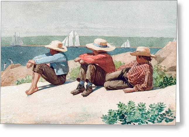 Watching Ships   Gloucester Greeting Card
