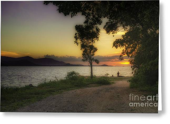 Watching Sunset Greeting Card by Michelle Meenawong