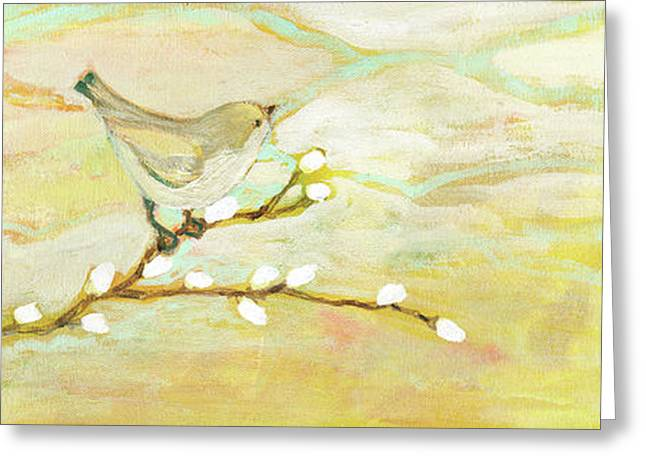Sparrow Paintings Greeting Cards - Watching the Clouds No 3 Greeting Card by Jennifer Lommers