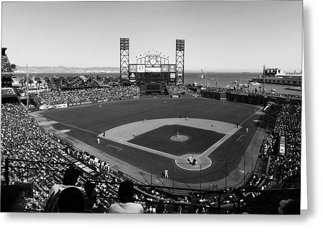 Watching The Giants Bw Greeting Card