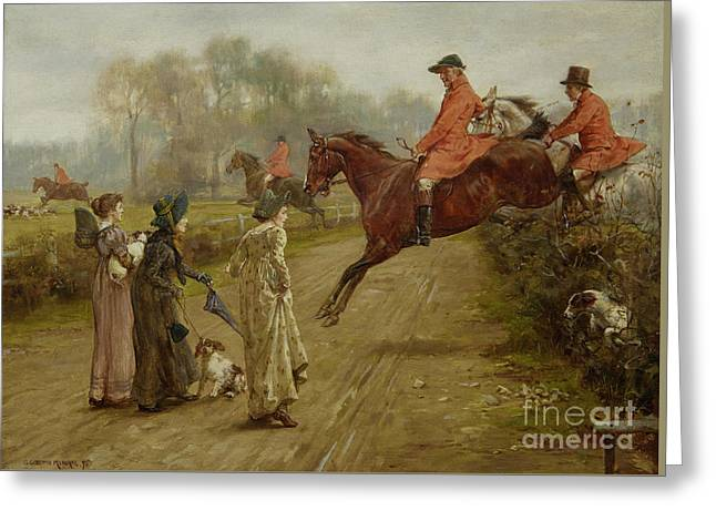 Watching The Hunt Greeting Card by George Goodwin Kilburne