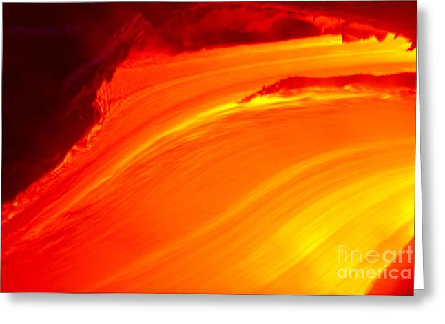 Watching The Lava Flow Greeting Card by Erik Aeder - Printscapes