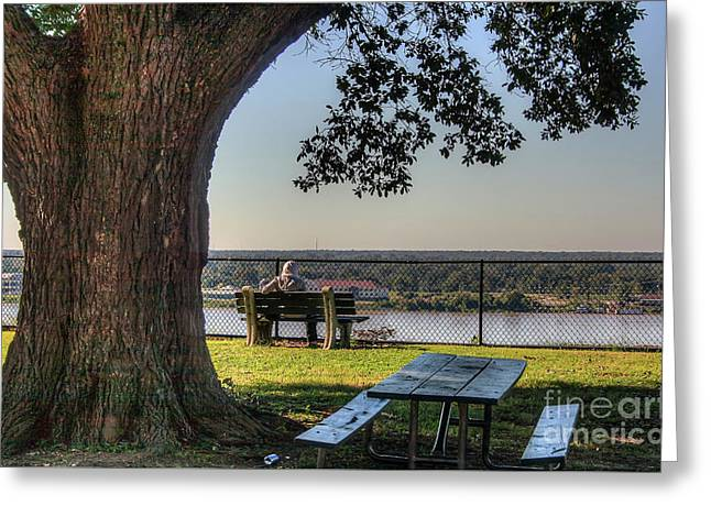 Watching The River Flow Greeting Card
