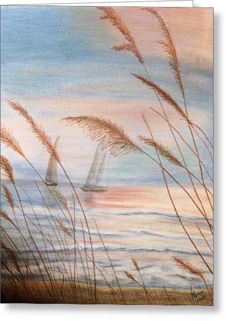 Watching The Sails Greeting Card by Maris Sherwood