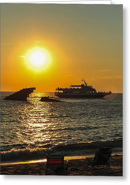 Watching The Ships Sunset Beach Cape May Nj Greeting Card by Terry DeLuco