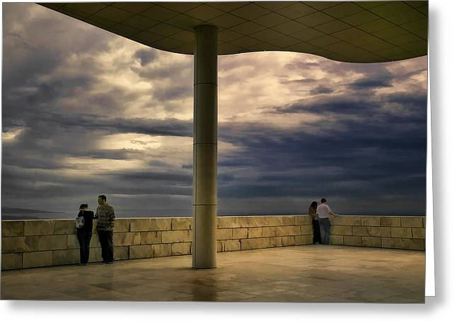 Watching The Storm At The Getty Greeting Card by Lynn Andrews