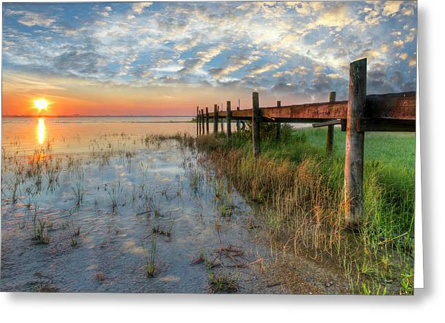 Watching The Sun Rise Greeting Card by Debra and Dave Vanderlaan