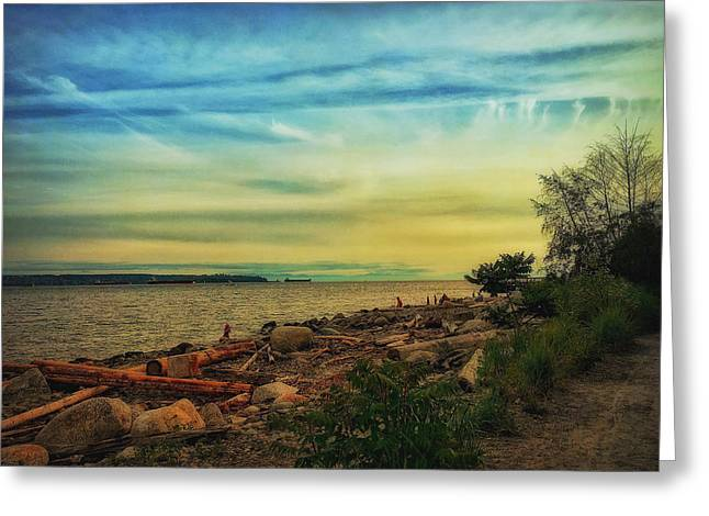 Watching The Sun Set Greeting Card by Connie Handscomb