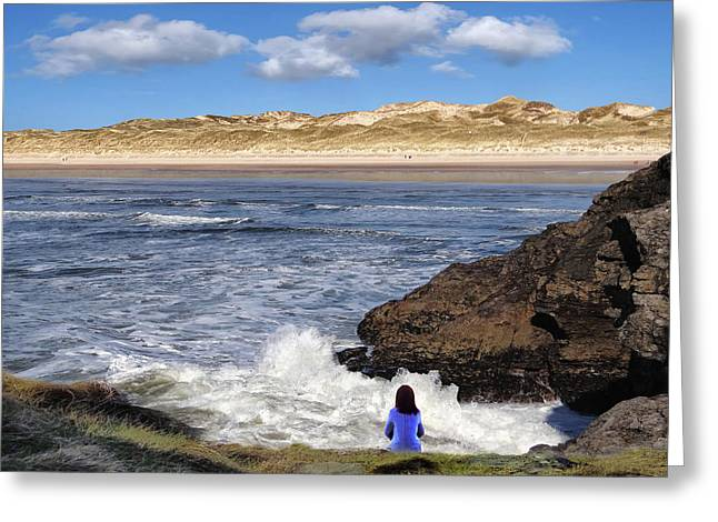 Watching The Waves At Fairy Bridges, Bundoran, Donegal - Ireland Greeting Card