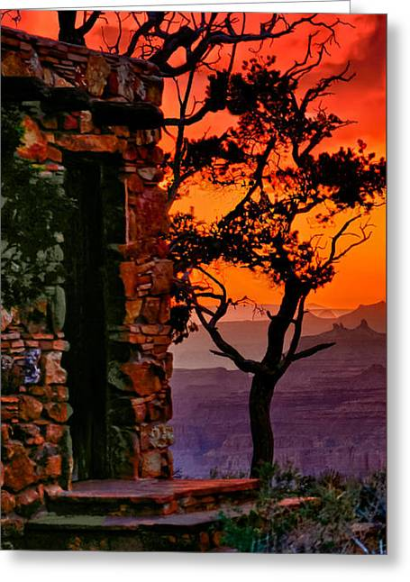 Watchtower Stormy Sunset Triptych Left Panel Greeting Card