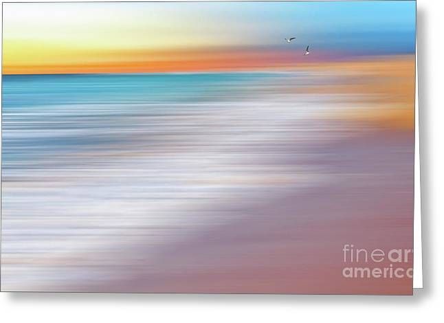 Water Abstraction II With Gulls By Kaye Menner Greeting Card by Kaye Menner