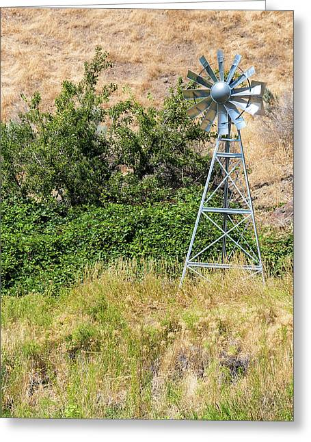 Water Aerating Windmill For Ponds And Lakes Greeting Card