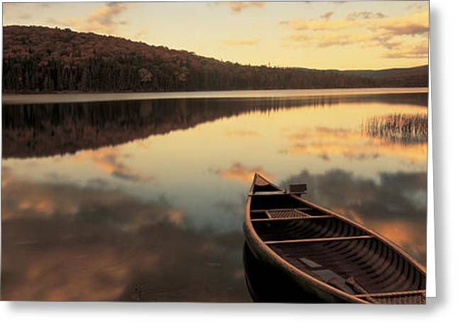 Water And Boat, Maine, New Hampshire Greeting Card by Panoramic Images