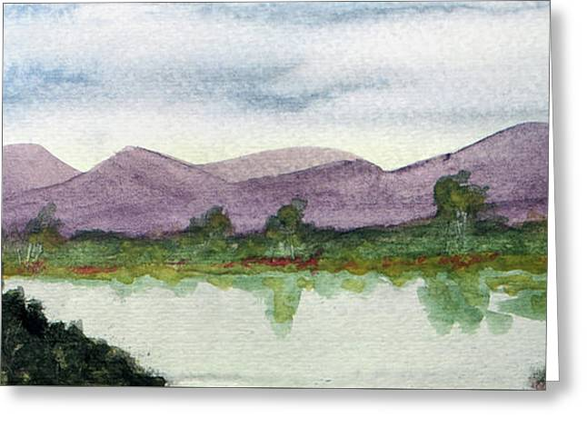 Water And Distant Hills Greeting Card by R Kyllo