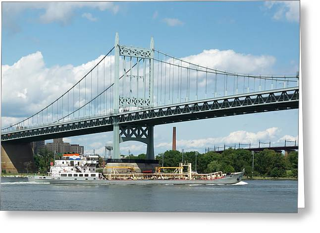 Water And Ship Under The Bridge Greeting Card
