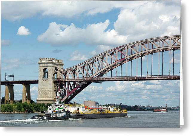 Hell Gate Bridge And Barge Greeting Card
