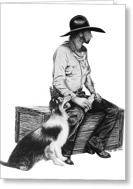 Cowboy Sketches Greeting Cards - Water Break Greeting Card by Peter Piatt