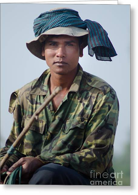 Water Buffalo Driver In Cambodia Greeting Card by Jason Rosette