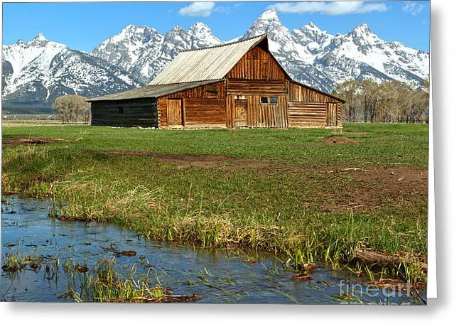 Water By The Barn Greeting Card by Adam Jewell