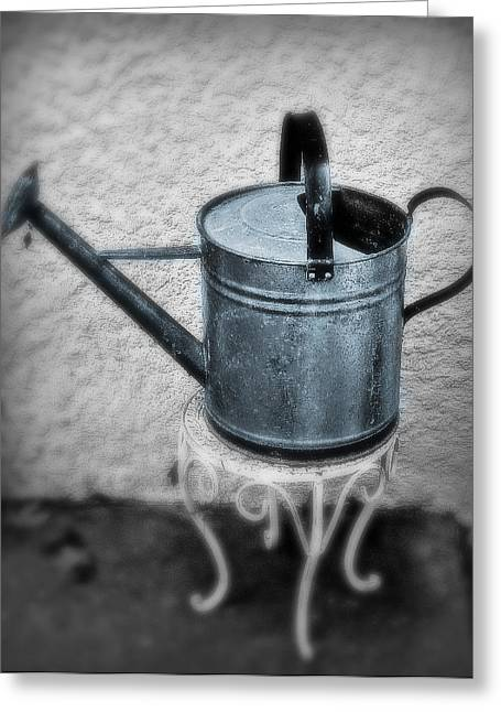Water Can In Blue Greeting Card by Perry Webster