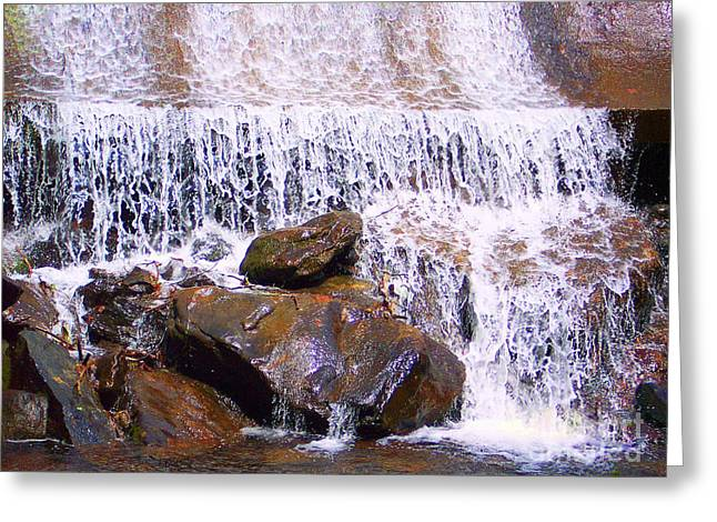 Greeting Card featuring the photograph Water Cascade by Roberta Byram