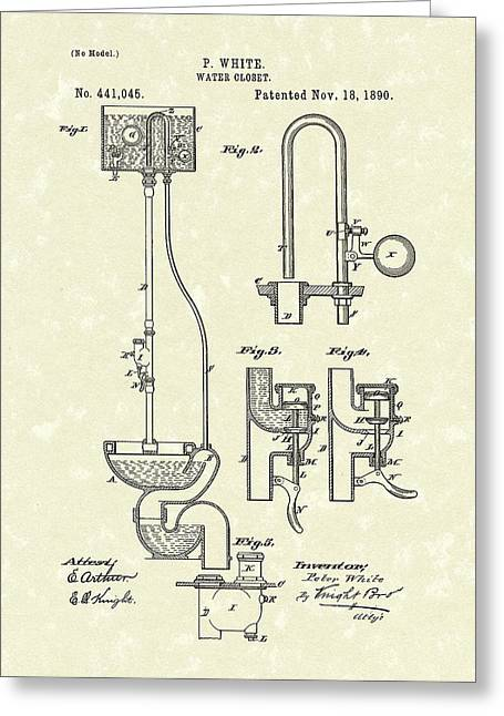 Water Closet Patent Art Parchment  Greeting Card