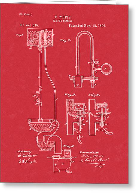 Water Closet Patent Art Red Greeting Card