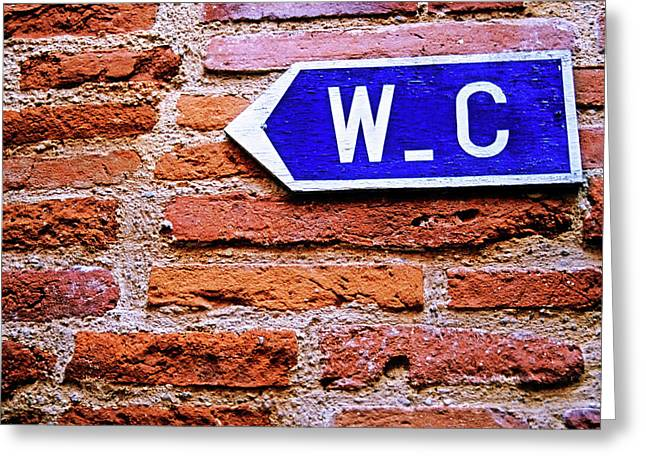 Public Restroom Greeting Cards - Water closet sign on a brick red wall Greeting Card by Sami Sarkis