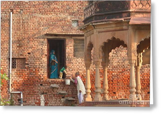 Greeting Card featuring the photograph Water Delivery In Vrindavan by Jean luc Comperat