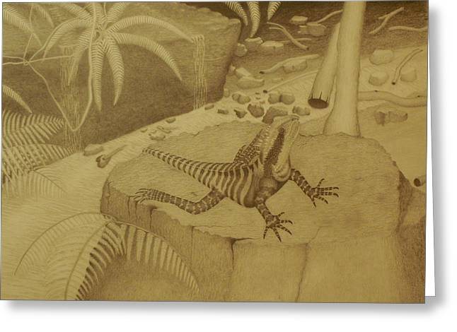 Water Dragon Lizard Greeting Card by Brian Leverton