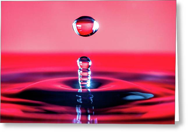 Water Drop In Red Greeting Card