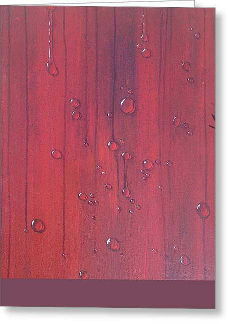 Water Drops On Red Greeting Card