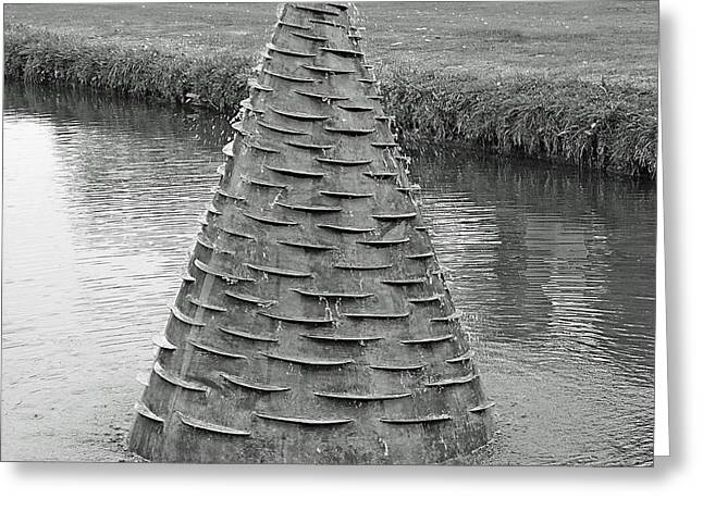 Water Feature Sculpture Monochrome Greeting Card
