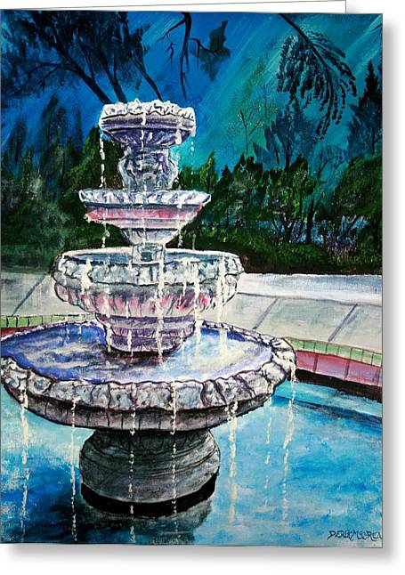 Water Fountain Acrylic Painting Art Print Greeting Card by Derek Mccrea
