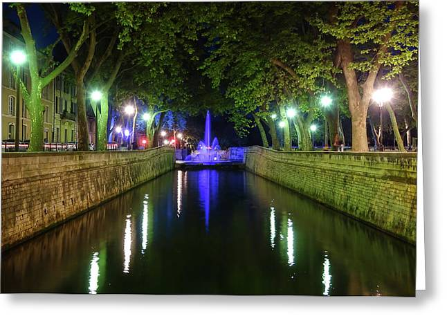 Greeting Card featuring the photograph Water Fountain At Night by Scott Carruthers