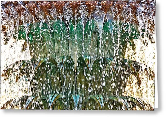 Water Fountain Bright Charleston Greeting Card by Lori Kesten