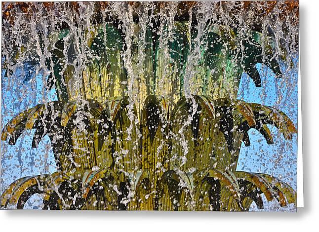 Water Fountain Light Charleston Greeting Card by Lori Kesten
