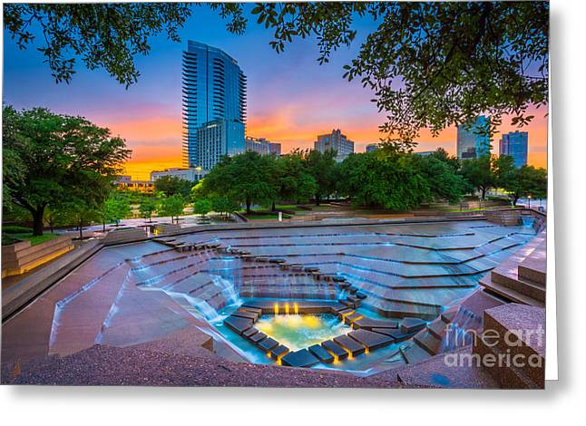 Water Gardens Sunset Greeting Card