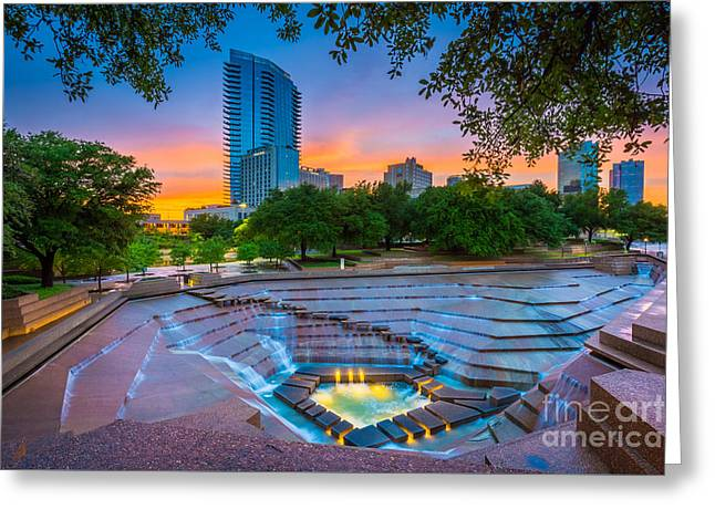 Water Gardens Sunset Greeting Card by Inge Johnsson